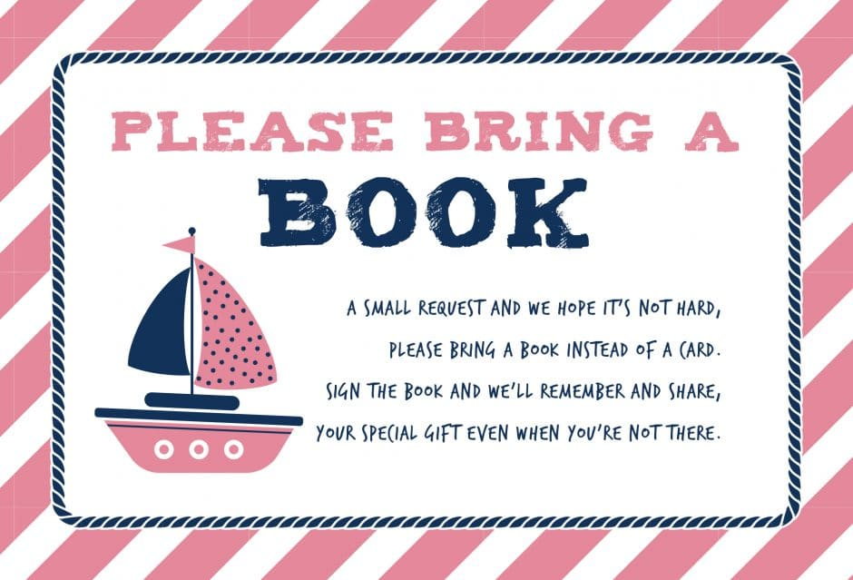 please bring a book instead of a card printable nautical theme