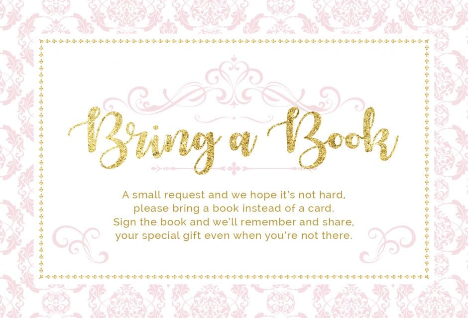 bring a book instead of a card printable princess