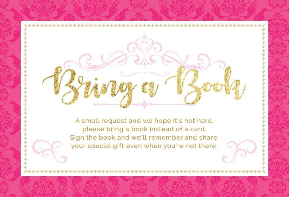bring a book instead of a card printable princess