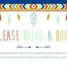 bring a book instead of a card printable free boho aztec arrow