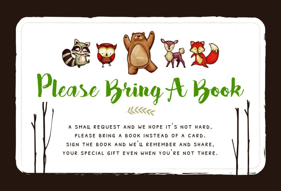 bring a book instead of a card printable woodland