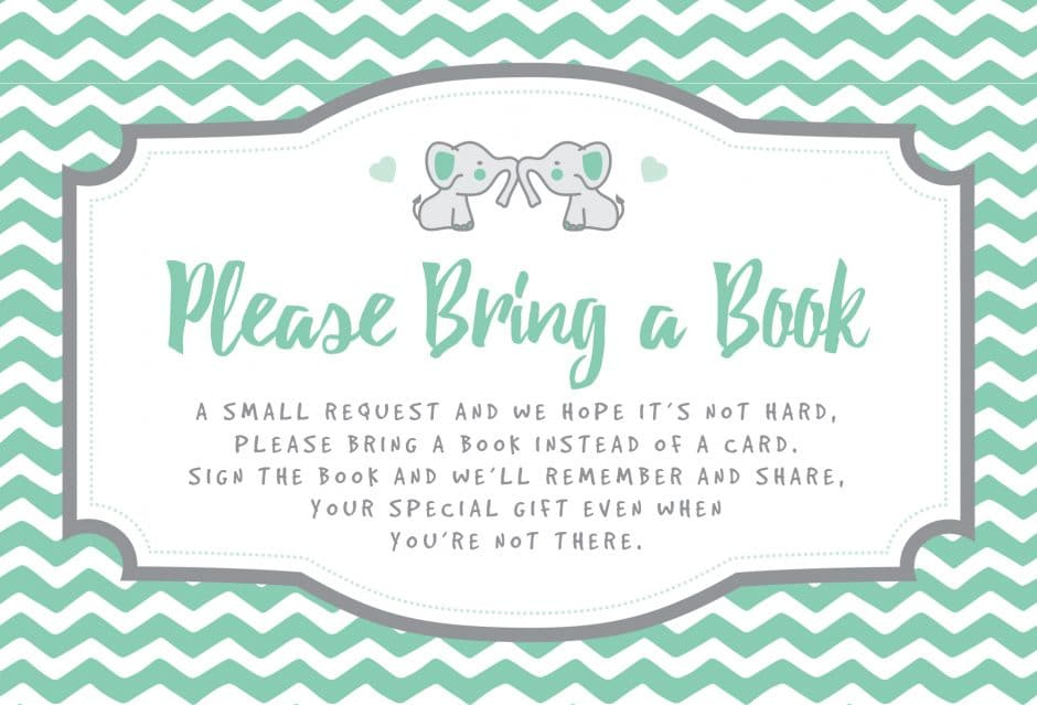 bring a book instead of a card printable free elephant theme