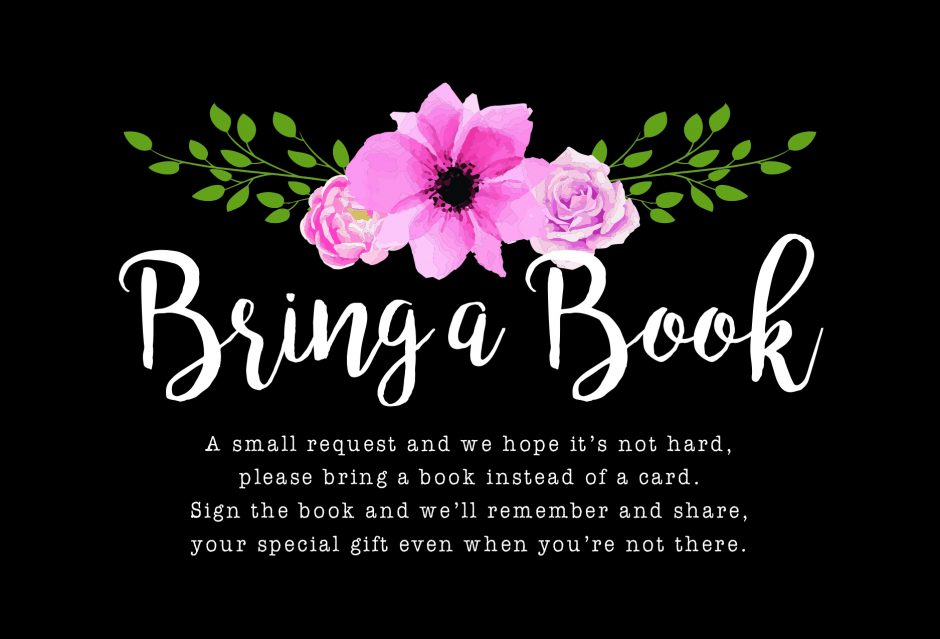 please bring a book instead of a card free printable