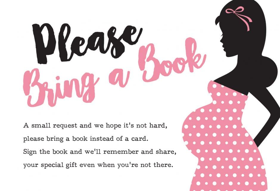 please bring a book instead of a card free printable ready to pop girl pink