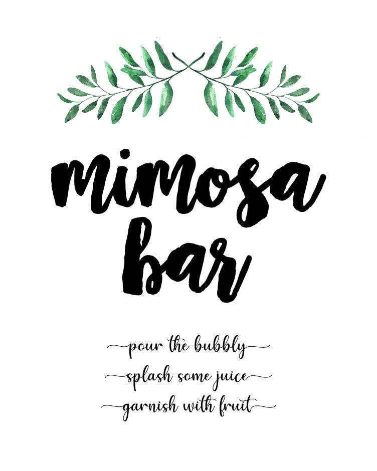 mimosa bar free printables simple greenery
