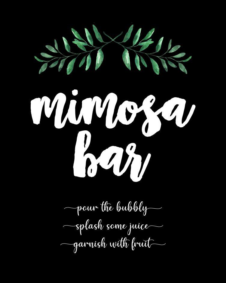 mimosa bar free printables