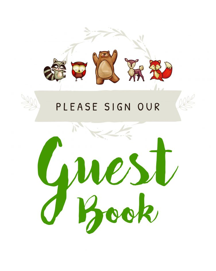 Please sign our guestbook -woodland creatures theme