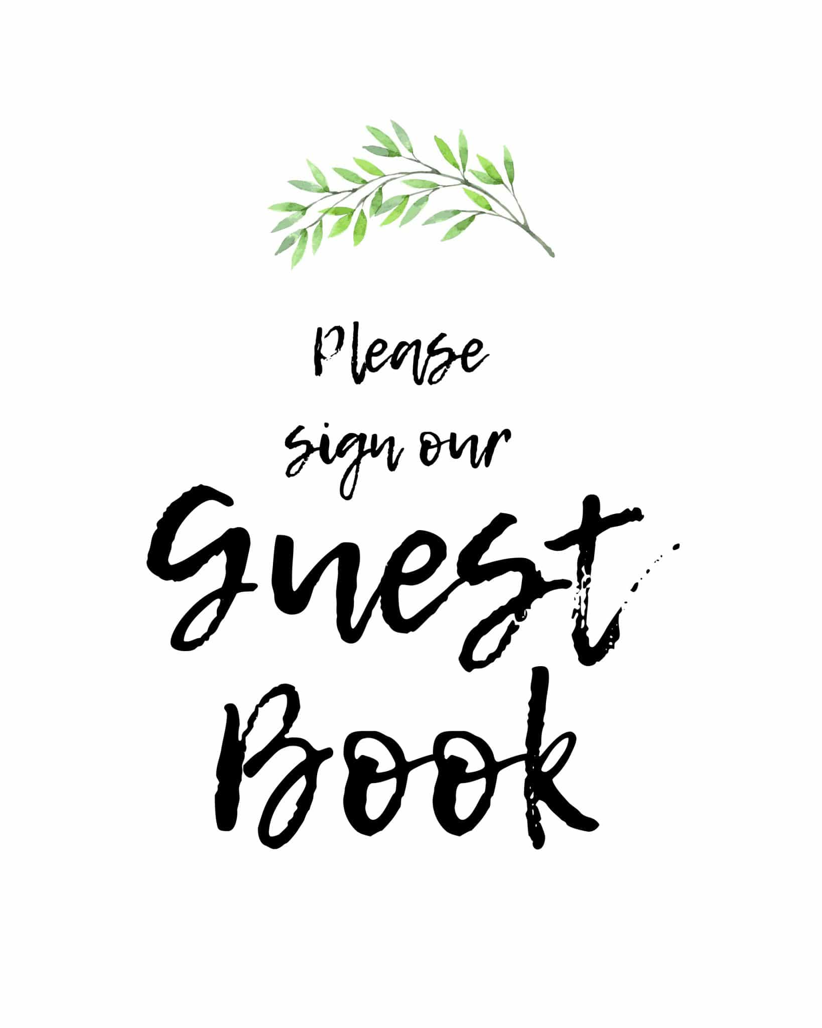 Please sign our guestbook rustic theme