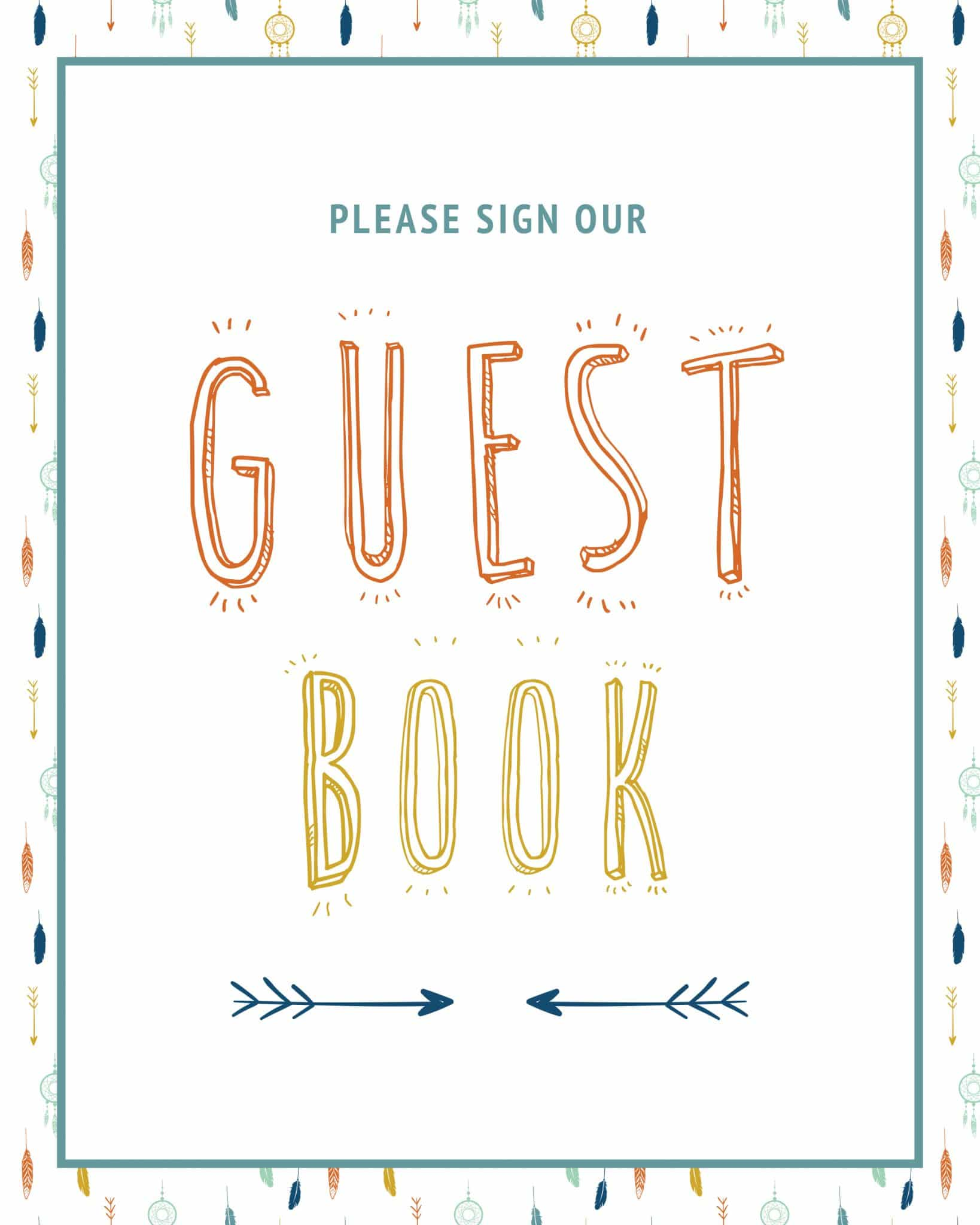 Please sign our guestbook boho aztec rustic theme