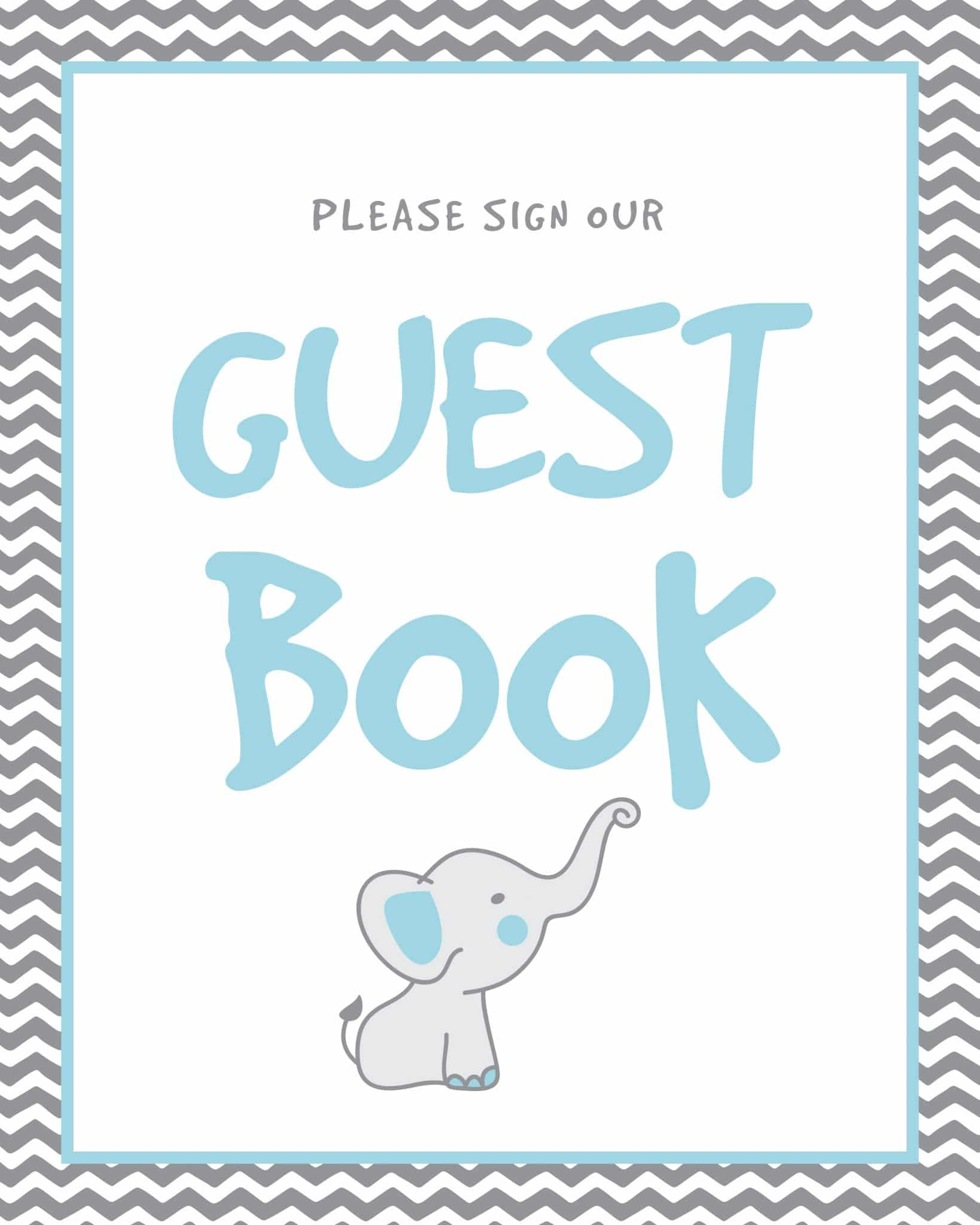 Please sign our guestbook elephant theme