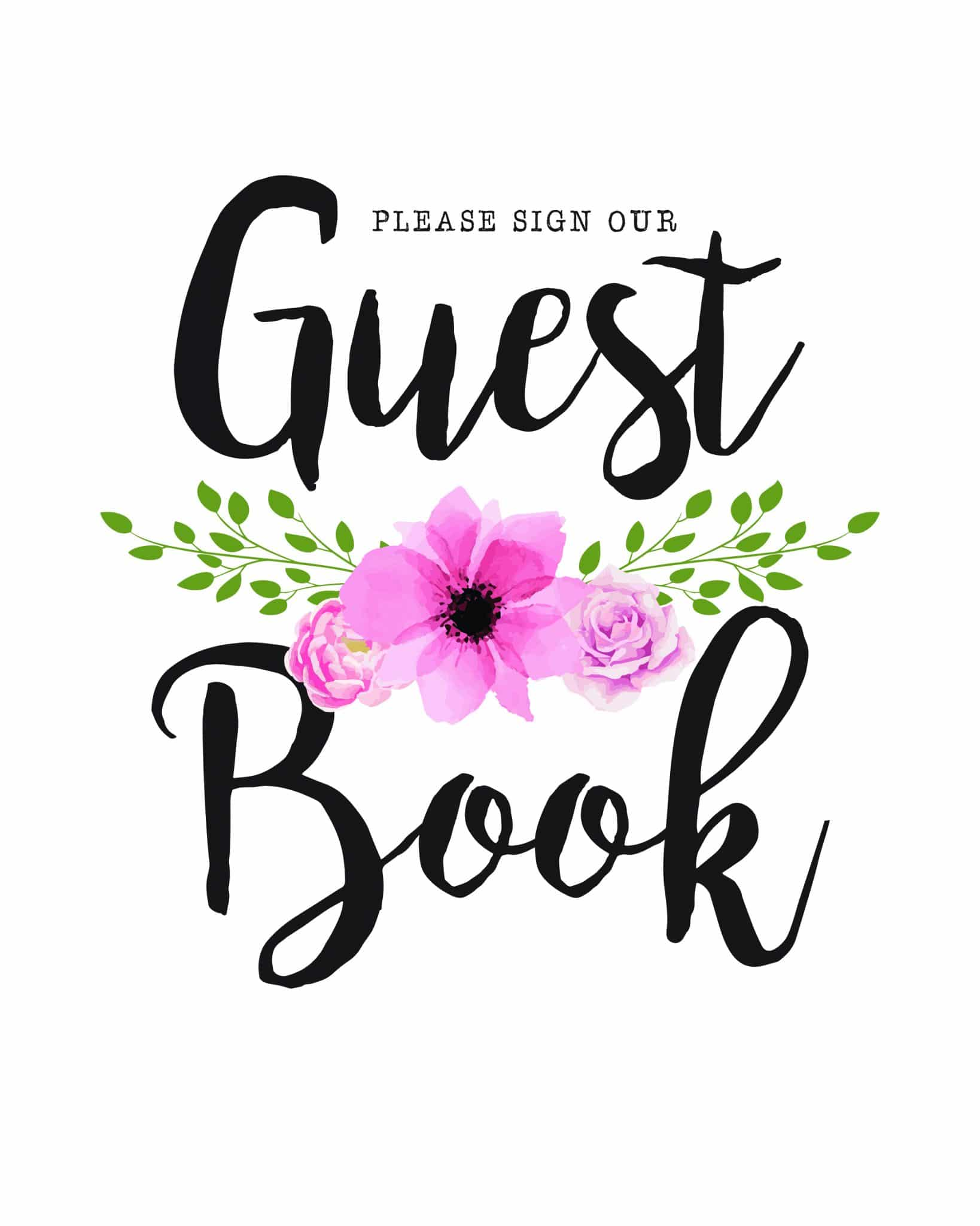 Please sign our guestbook floral theme