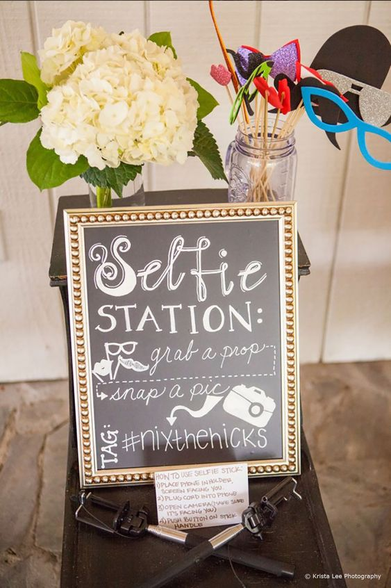 selfie station at baby shower