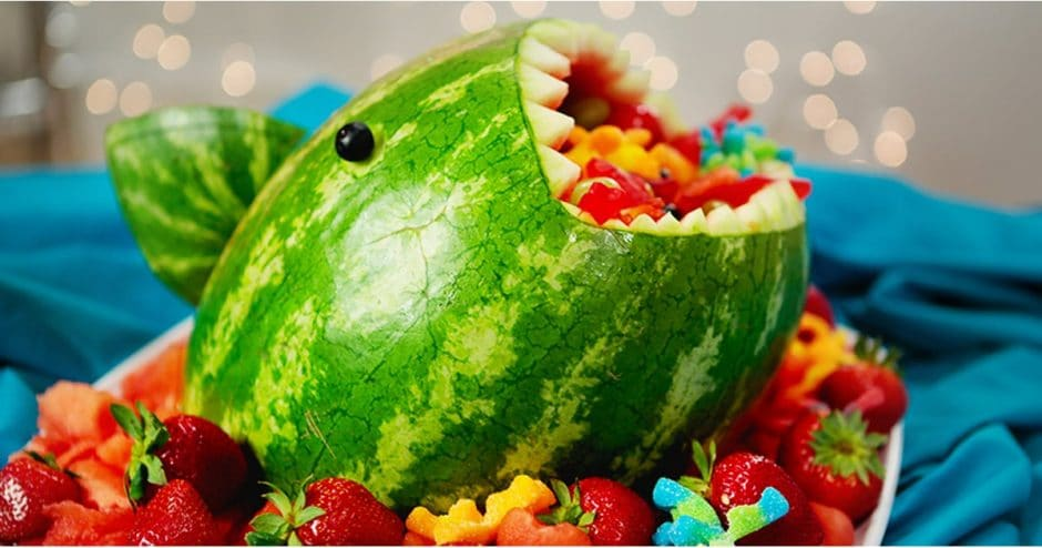 watermelon shark baby shower fruit bowl