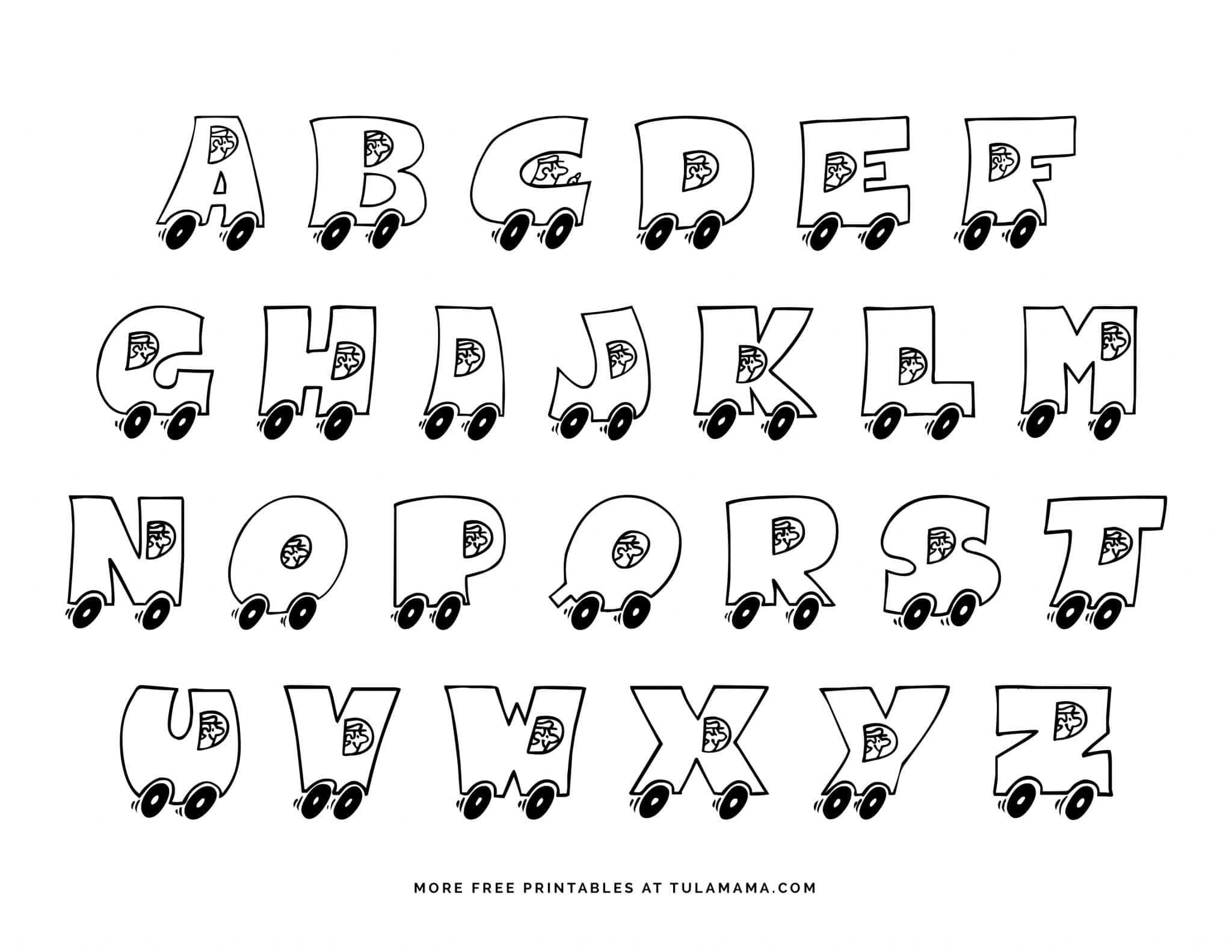 - Fun And Easy To Print Alphabet Coloring Pages On Wheels - Tulamama