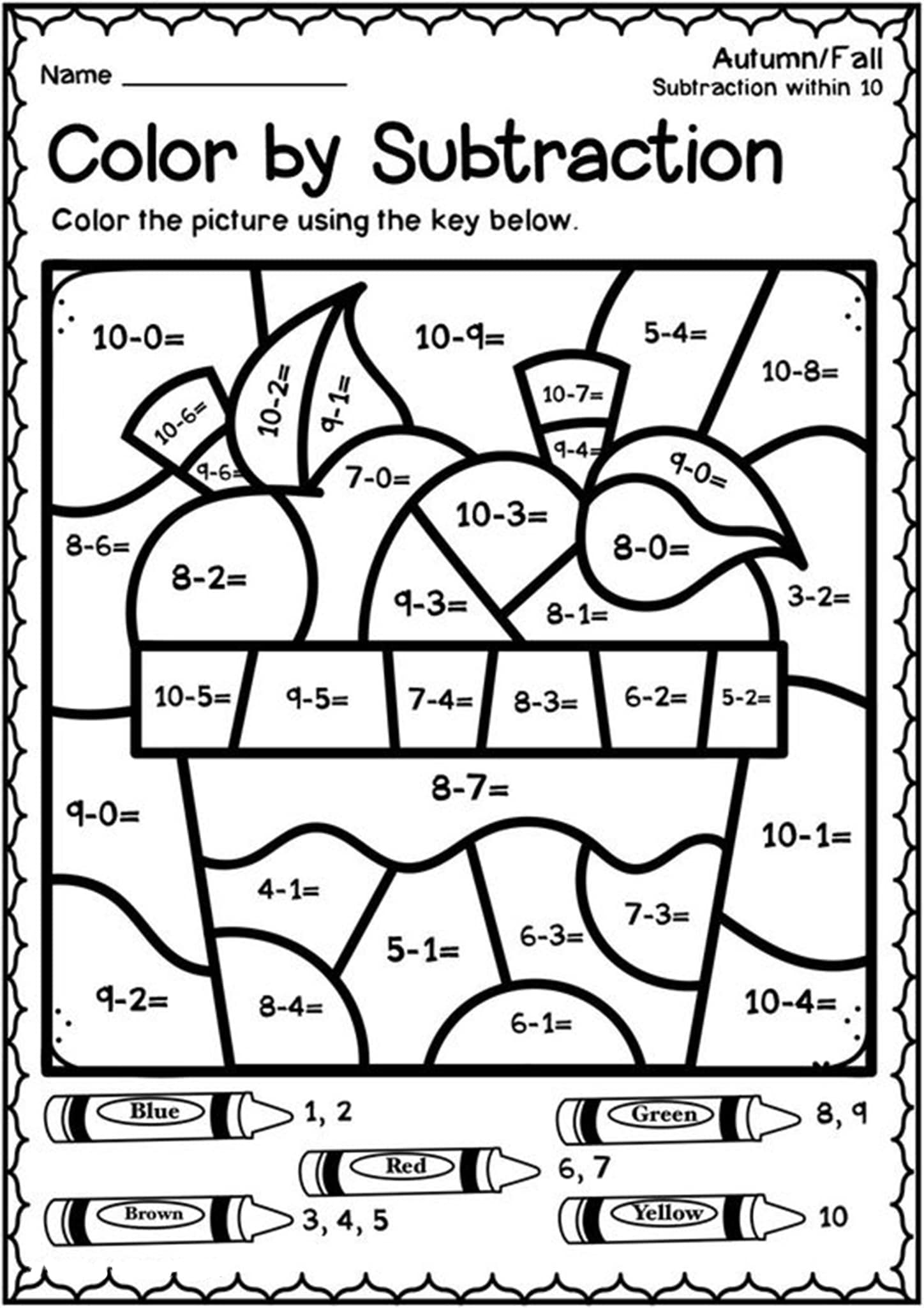 Free Printable Color by Number Worksheets For Kindergarten ...