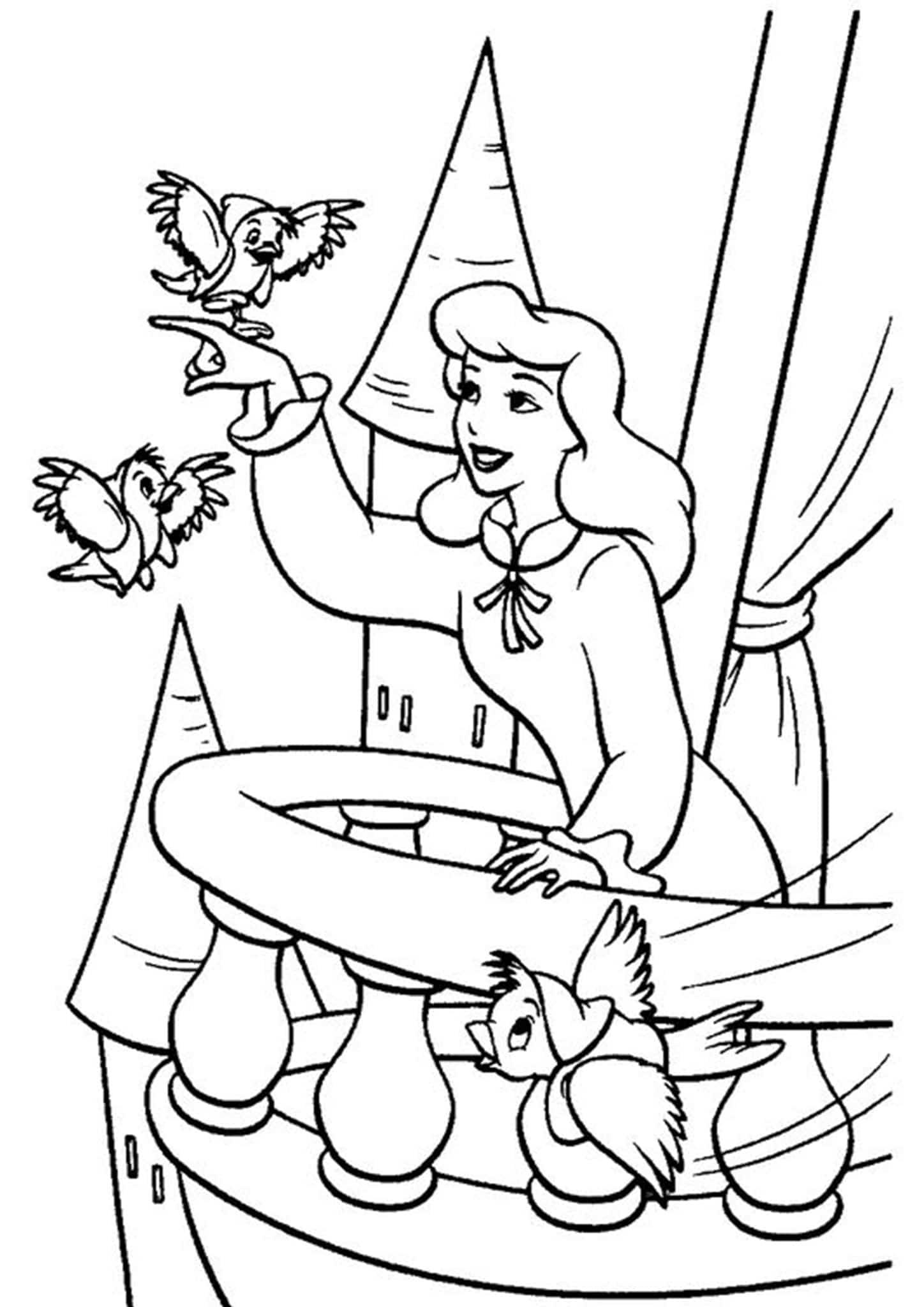 Free & Easy To Print Cinderella Coloring Pages - Tulamama