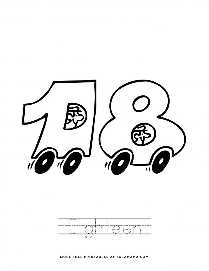 Number 18 Coloring Pages