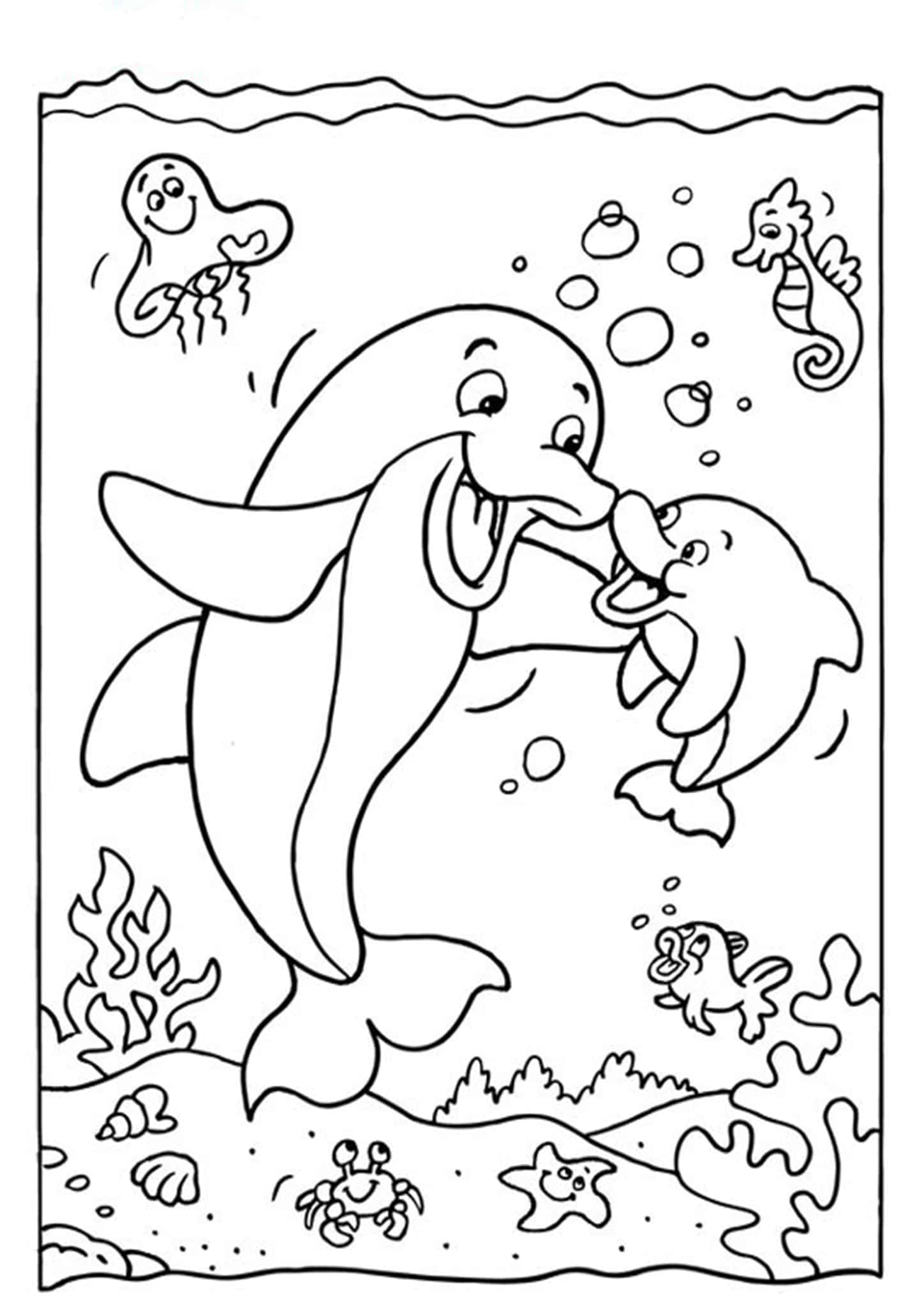 Free & Easy To Print Dolphin Coloring Pages - Tulamama