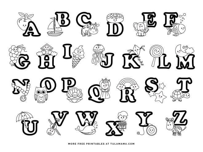 Alphabet Coloring Pages - Tulamama