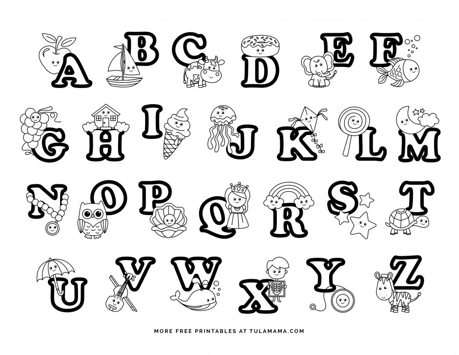 Fun And Easy To Print Alphabet Coloring Pages On Wheels - Tulamama