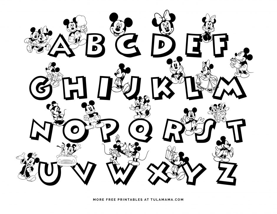 Free Printable Mickey Mouse ABC Coloring Pages - Tulamama