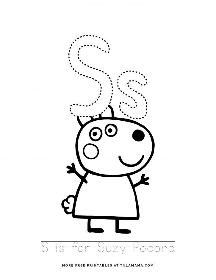Peppa Pig alphabet tracing sheet free printables