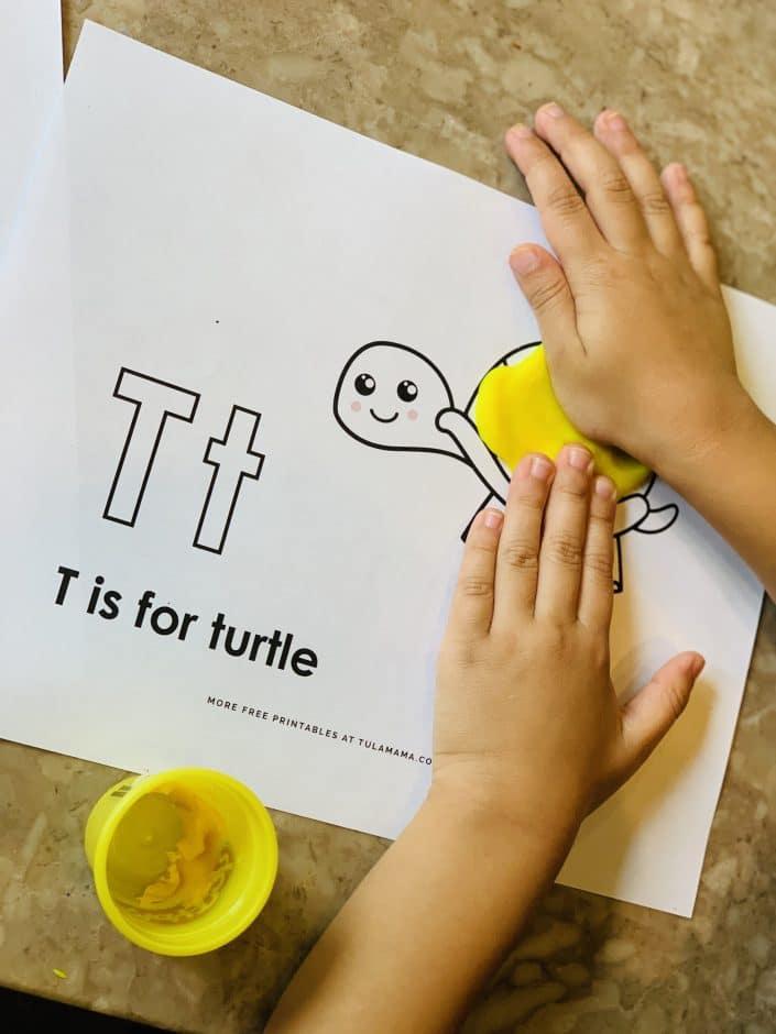 Free printable alphabet playdough mats