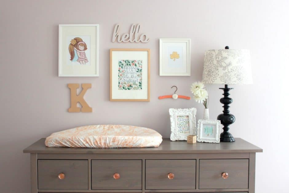 Changing Table Decor for your baby nursery. Lots of practical ideas to inspire you. Some ideas you can totally DIY this with an Ikea dresser or repurpose thrift store furniture. Pin it. #ideasdiy #nurserydresser #ideasrepurpose