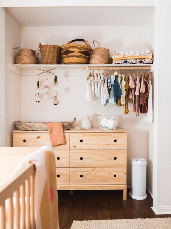 diaper changing station in nursery closet