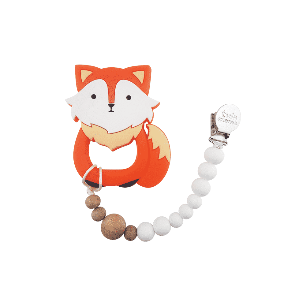 fox baby chew toys and pacifier clip baby gift set