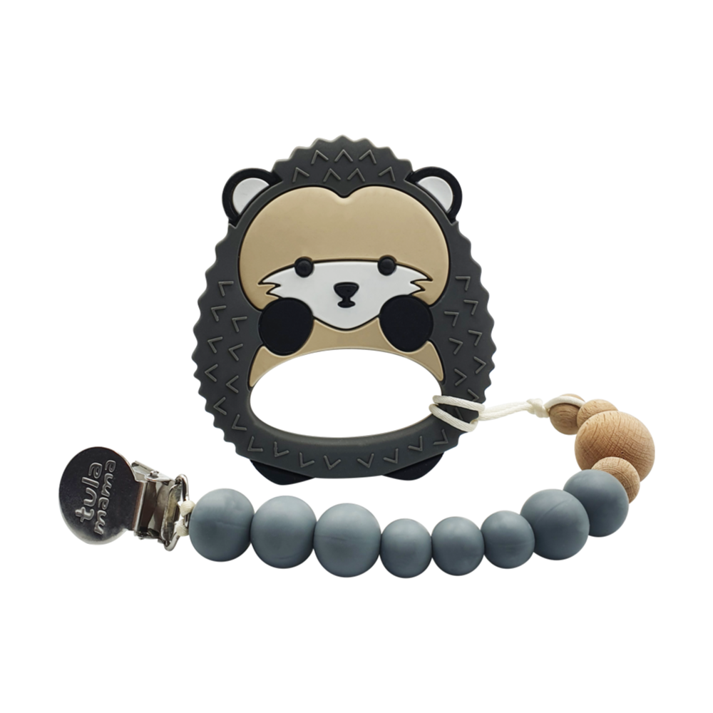 Hedgehog and pacifier clip baby gift set