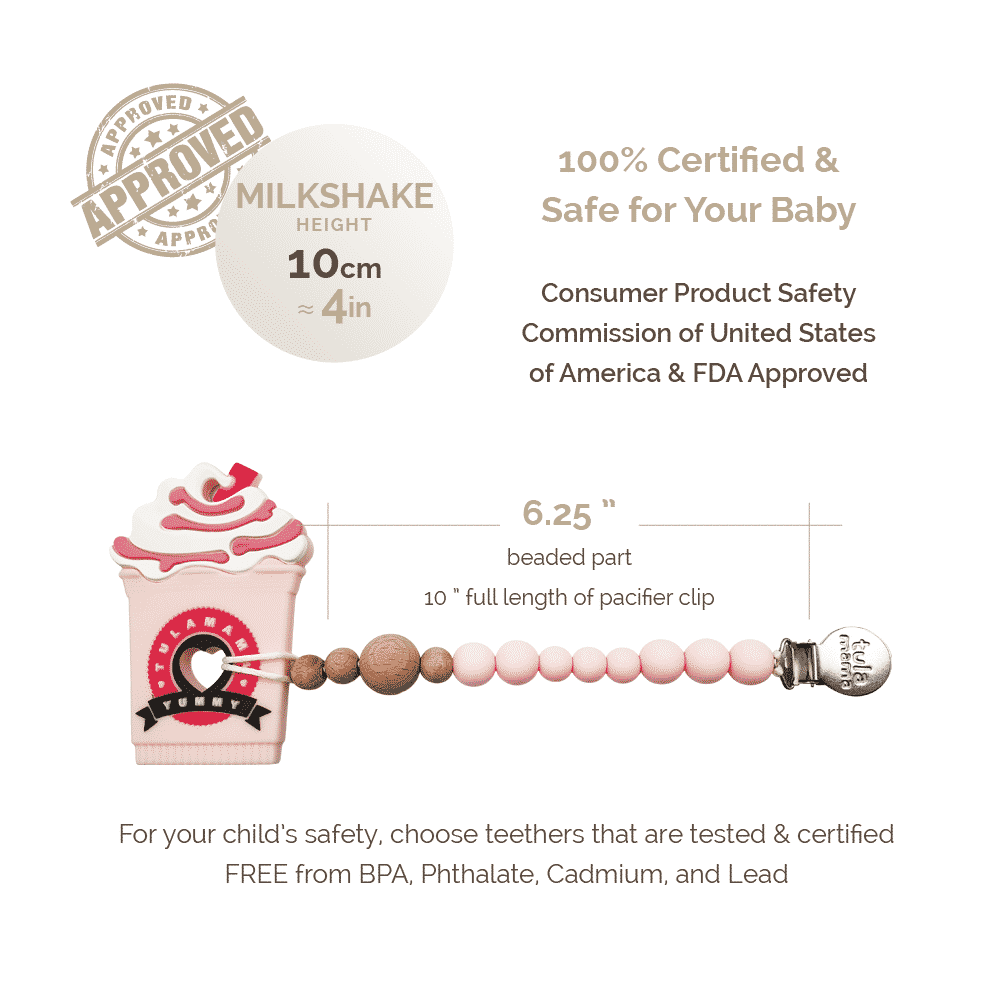 Baby girl gift set strawberry milkshake frappe teether and pink pacifier clip