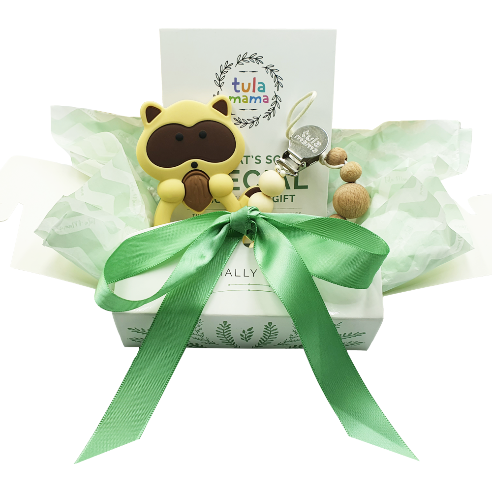 raccoon teether and pacifier clip baby shower gift set
