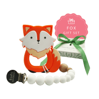 fox teether and pacifier clip newborn baby gift set