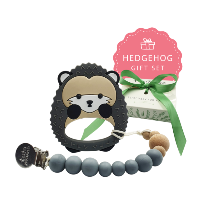 pacifier clip and hedgehog teether baby gift set