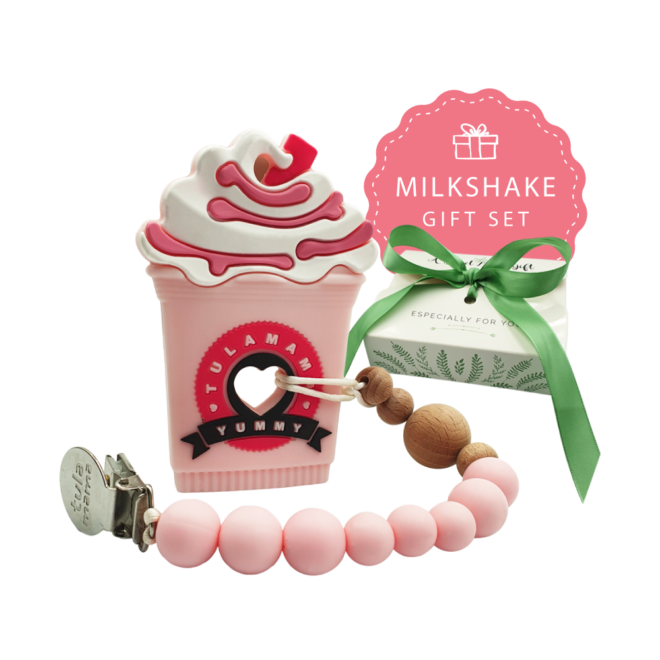 Strawberry frappe milkshake silicone teether and pink pacifier clip baby girl gift set