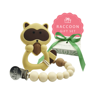 PACIFIER CLIP AND TEETHER BABY SHOWER GIFT SET