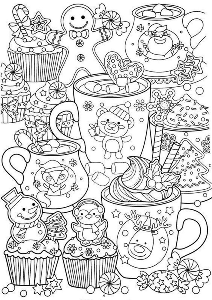 Fun Christmas adult coloring pages for your little one. They are free and easy to print. The collection is varied with different skill levels