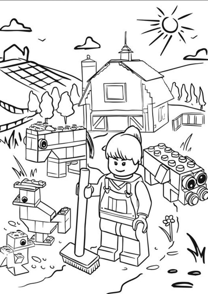 Fun Lego coloring pages for your little one. They are free and easy to print. The collection is varied with different skill levels