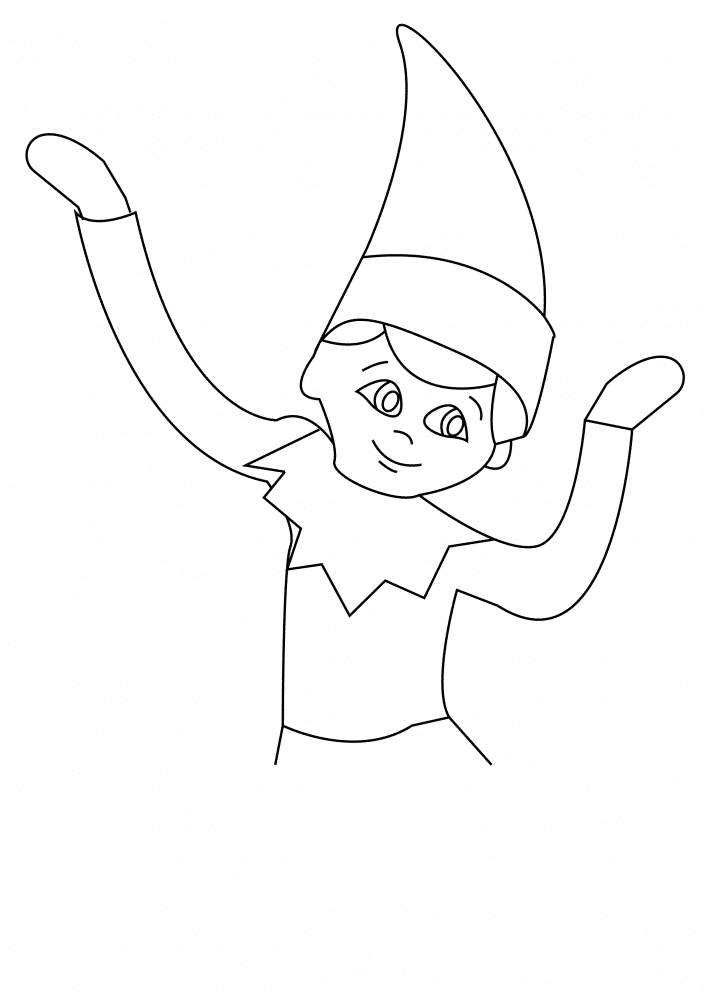 Fun Elf on The Shelf coloring pages for your little one. They are free and easy to print. The collection is varied with different skill levels