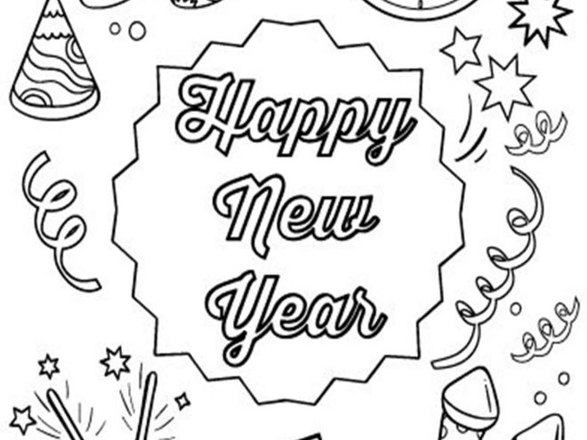 Fun New Year coloring pages for your little one. They are free and easy to print. The collection is varied with different skill levels