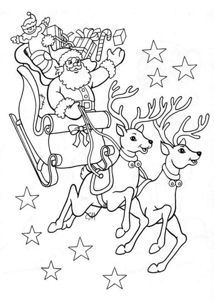 Santa's Reindeer Coloring Pages