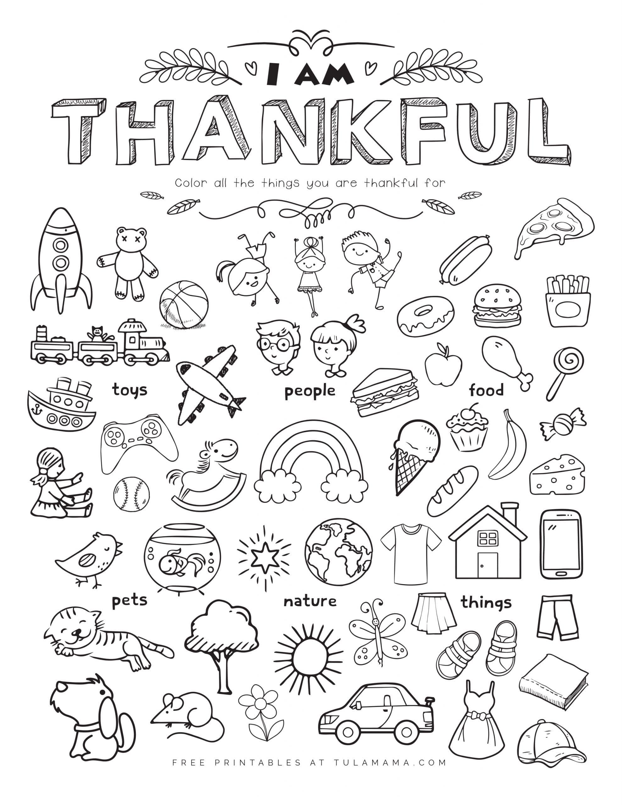 Free I am thankful for worksheet printables