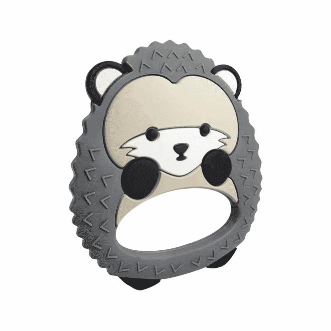 Silicone hedgehog teether gray