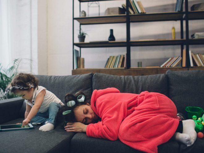 tired mom sleeping disco naps