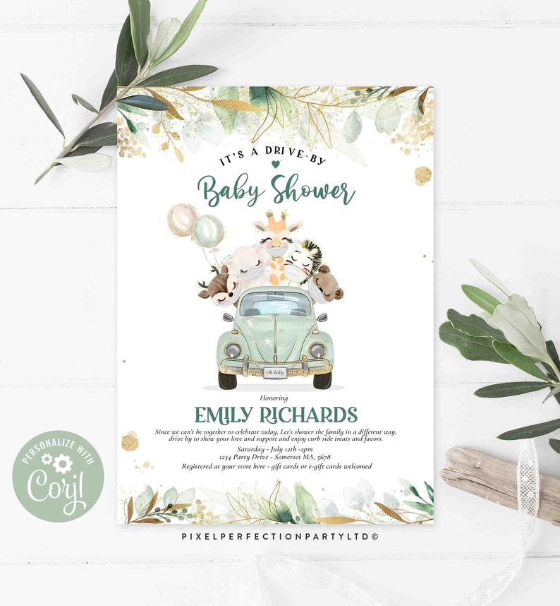 Drive By Baby Shower Invitations