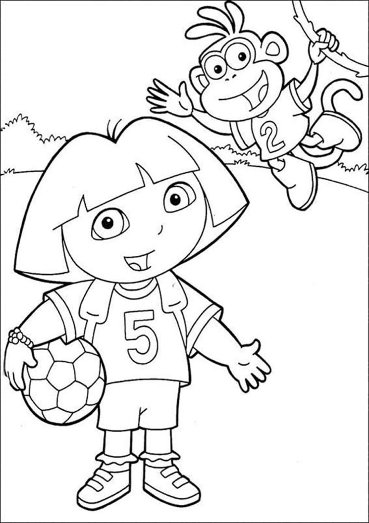 Fun Dora coloring pages for your little one. They are free and easy to print. The collection is varied with different skill levels